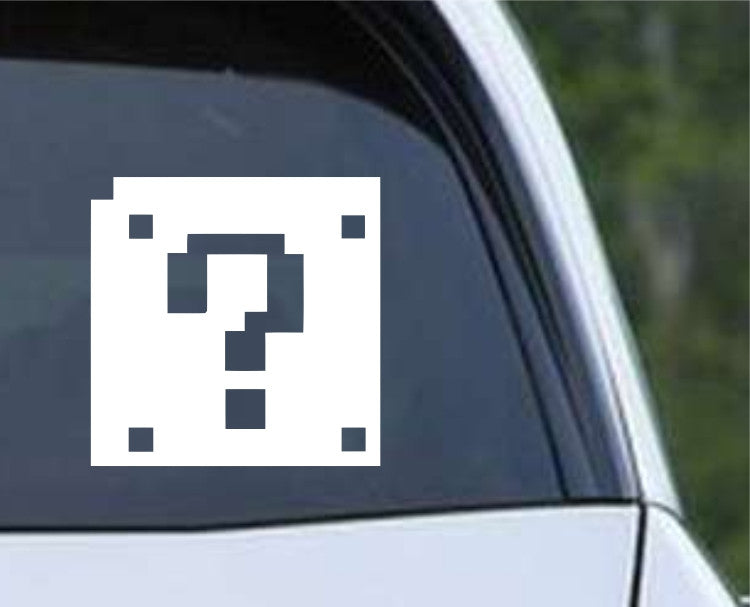 8 Bit Mario Bros Question Block Die Cut Vinyl Decal Sticker - Decals City