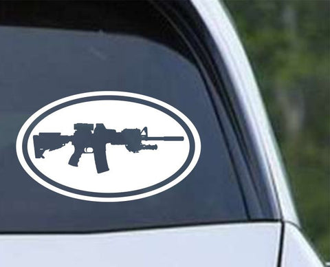 AR-15 M-16 M-4 Military Rifle Gun Sniper Euro Oval Die Cut Vinyl Decal Sticker - Decals City