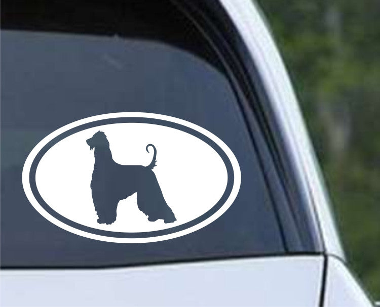 Afghan Hound Dog Euro Oval Die Cut Vinyl Decal Sticker - Decals City