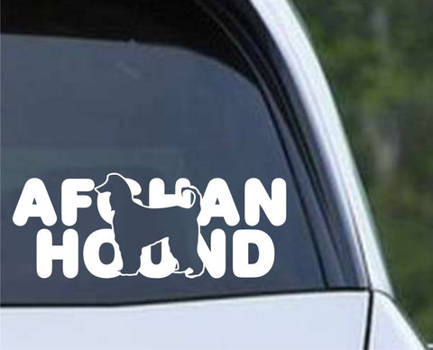 Afghan Hound Dog Name Die Cut Vinyl Decal Sticker
