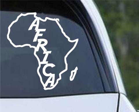 Africa Country Outline with Name Die Cut Vinyl Decal Sticker - Decals City