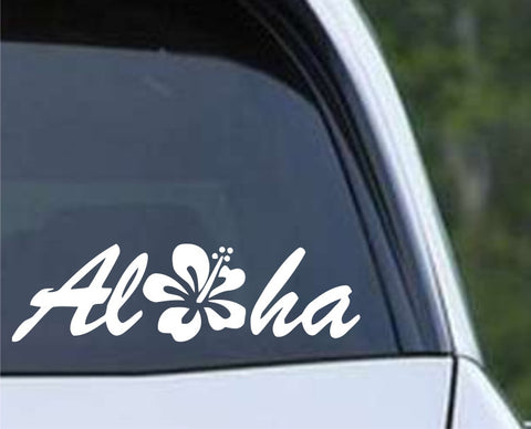 Aloha Hibiscus Flower Hawaii Die Cut Vinyl Decal Sticker