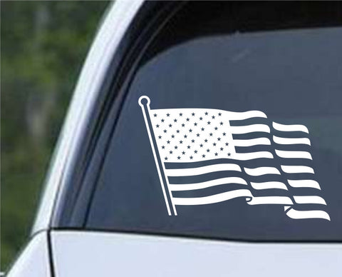 American Flag With Pole Patriotic Die Cut Vinyl Decal Sticker - Decals City