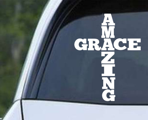 Amazing Grace Cross Christian Die Cut Vinyl Decal Sticker - Decals City