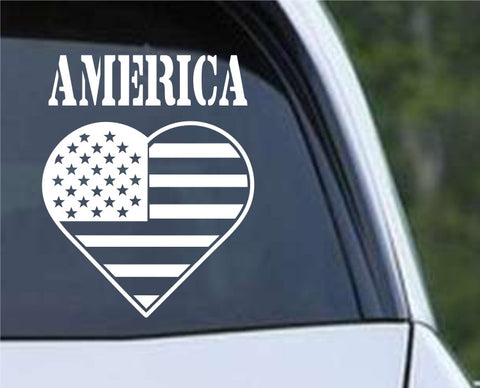 America Heart Patriotic (HRO167) Die Cut Vinyl Decal Sticker - Decals City