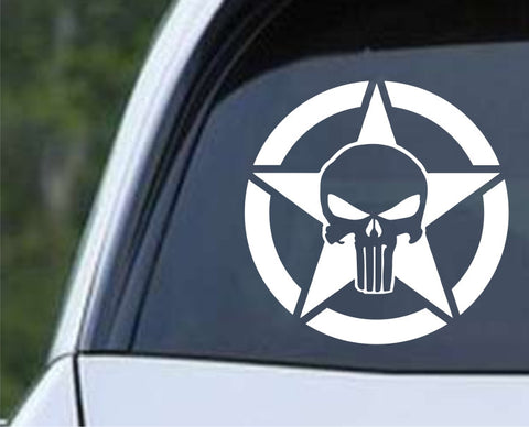 Army Jeep Star Punisher Skull Military Willys Die Cut Vinyl Decal Sticker - Decals City