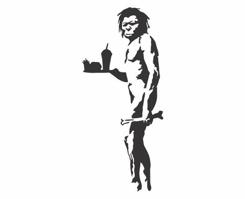 Banksy Fast Food Caveman Die Cut Vinyl Decal Sticker