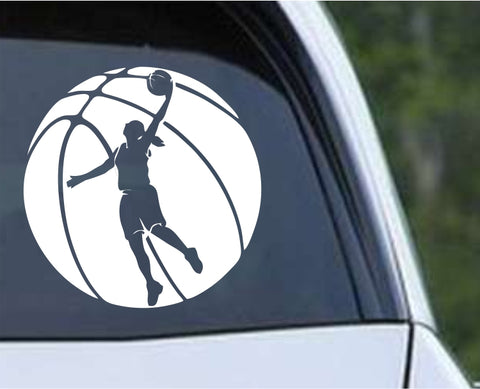 Basketball - Ball Girl Female Die Cut Vinyl Decal Sticker - Decals City