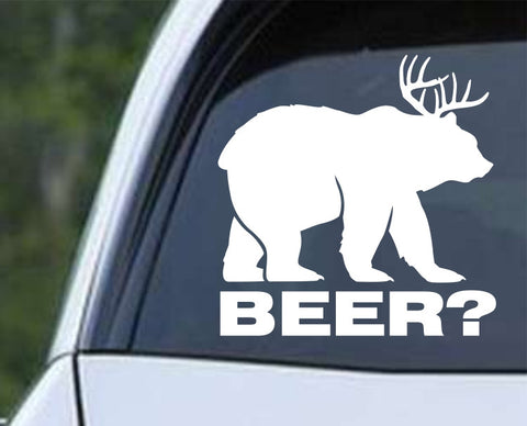 Bear plus Deer equals BEER Die Cut Vinyl Decal Sticker - Decals City