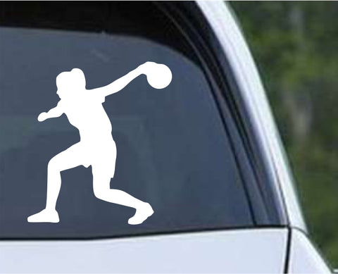 Bowling - Bowler Bowling Ball Pins Girl Female Die Cut Vinyl Decal Sticker - Decals City