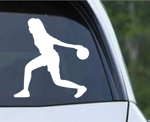Bowling - Bowler Bowling Ball Pins Girl Female v2 Die Cut Vinyl Decal Sticker - Decals City