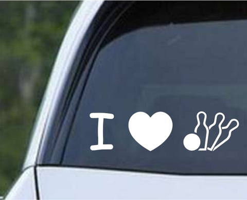 Bowling - I Love Bowling Die Cut Vinyl Decal Sticker - Decals City