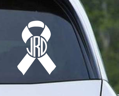 Breast Cancer Monogram Ribbon Die Cut Vinyl Decal Sticker