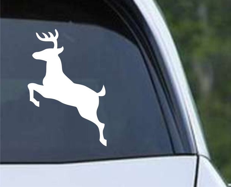 Buck Hunting Jumping HNT1-42 Die Cut Vinyl Decal Sticker - Decals City
