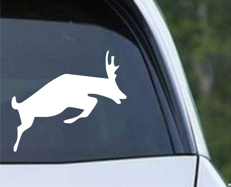 Buck Jumping Hunting Silhouette HNT1-70 Die Cut Vinyl Decal Sticker - Decals City