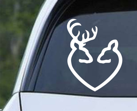 Buck and Doe Heart Hunting Die Cut Vinyl Decal Sticker - Decals City