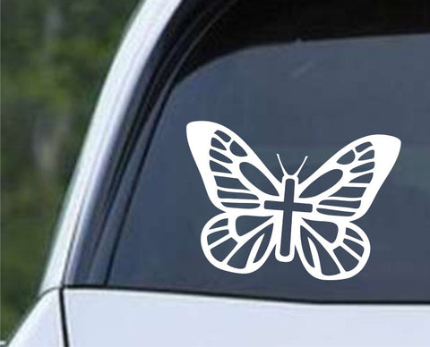 Butterfly (03) with Cross Die Cut Vinyl Decal Sticker - Decals City