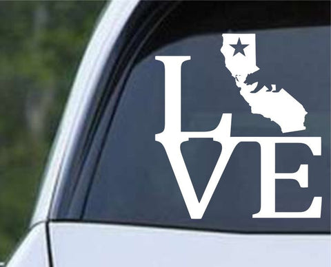 California State Love with Bear CA - USA America Die Cut Vinyl Decal Sticker - Decals City