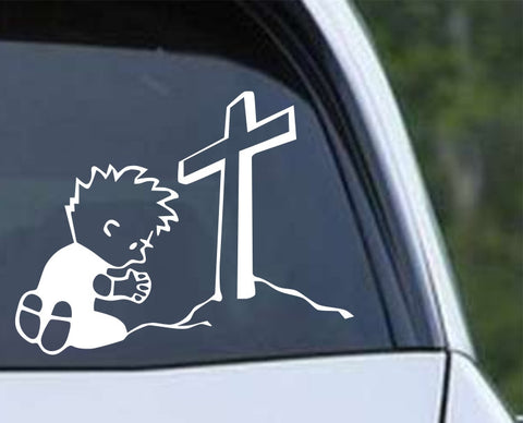 Calvin Praying at the Cross Christian Die Cut Vinyl Decal Sticker - Decals City