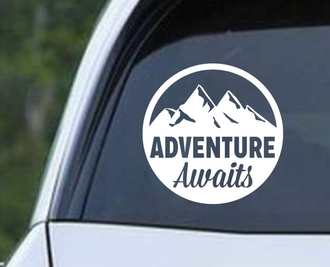 Camping - Adventure Awaits Die Cut Vinyl Decal Sticker - Decals City