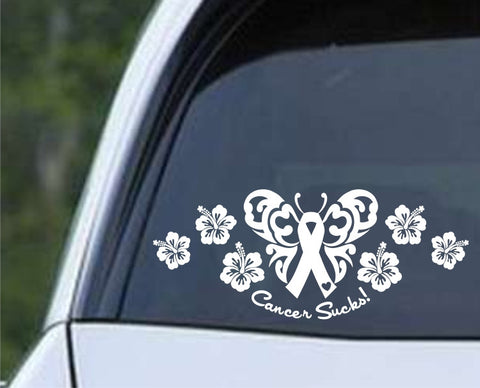 Cancer Sucks Butterfly with Hibiscus Die Cut Vinyl Decal Sticker