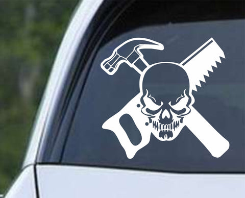 Carpenter Skull Construction Worker Builder Die Cut Vinyl Decal Sticker - Decals City