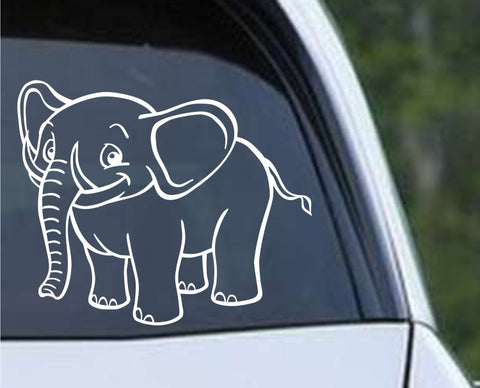 Cartoon Elephant Die Cut Vinyl Decal Sticker - Decals City