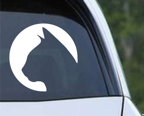 Cat Circle Silhouette Die Cut Vinyl Decal Sticker - Decals City
