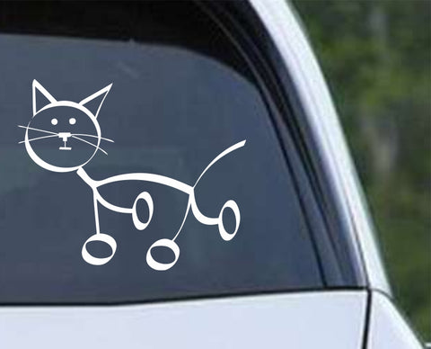 Cat Stick Figure Die Cut Vinyl Decal Sticker - Decals City