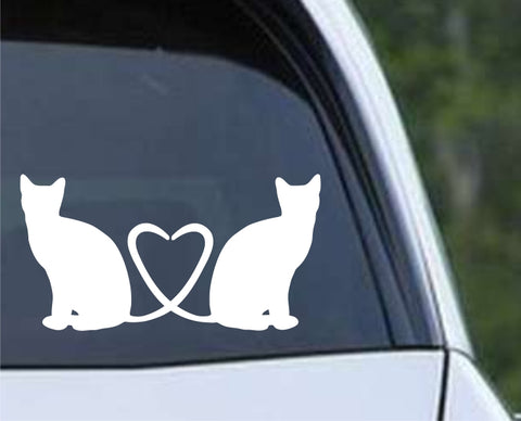 Cat Tail Heart Die Cut Vinyl Decal Sticker - Decals City