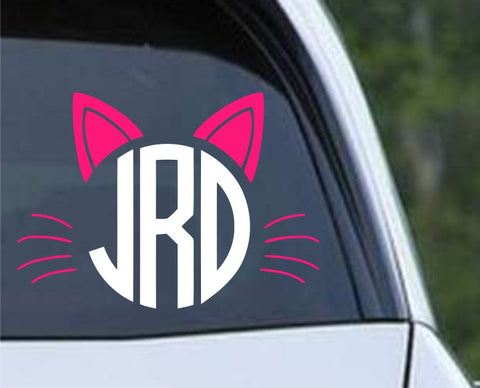 Cat Monogram - 2 COLOR Die Cut Vinyl Decal Sticker