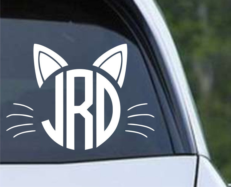 Cat Monogram Die Cut Vinyl Decal Sticker - Decals City