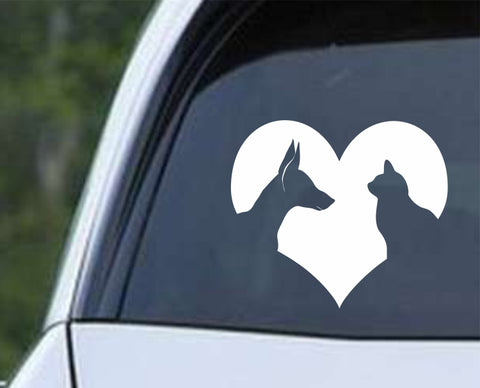 Cat and Dog Lover Heart Die Cut Vinyl Decal Sticker