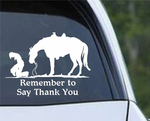 Christian Cowboy Praying - Remember to Say Thank You Die Cut Vinyl Decal Sticker - Decals City
