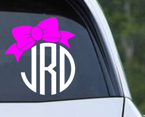 Circle Monogram with Cute Bow Die Cut Vinyl Decal Sticker - Decals City