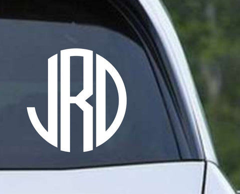 Circle Monogram Die Cut Vinyl Decal Sticker - Decals City