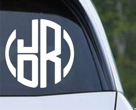 Circle Stack Monogram Die Cut Vinyl Decal Sticker