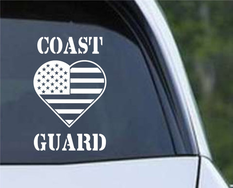 Coast Guard Heart Flag Patriotic (HRO142) Die Cut Vinyl Decal Sticker - Decals City