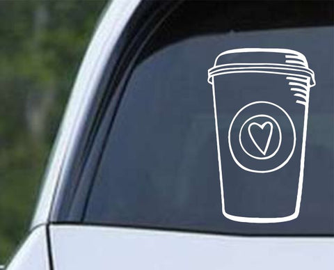 Coffee Cup Heart Die Cut Vinyl Decal Sticker
