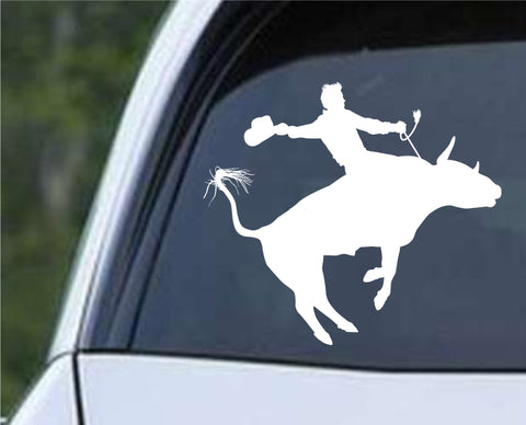 Cowboy Silhouette v6 Die Cut Vinyl Decal Sticker
