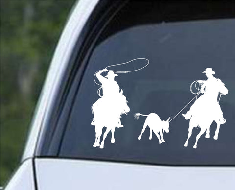 Cowboy Silhouette v9 Die Cut Vinyl Decal Sticker