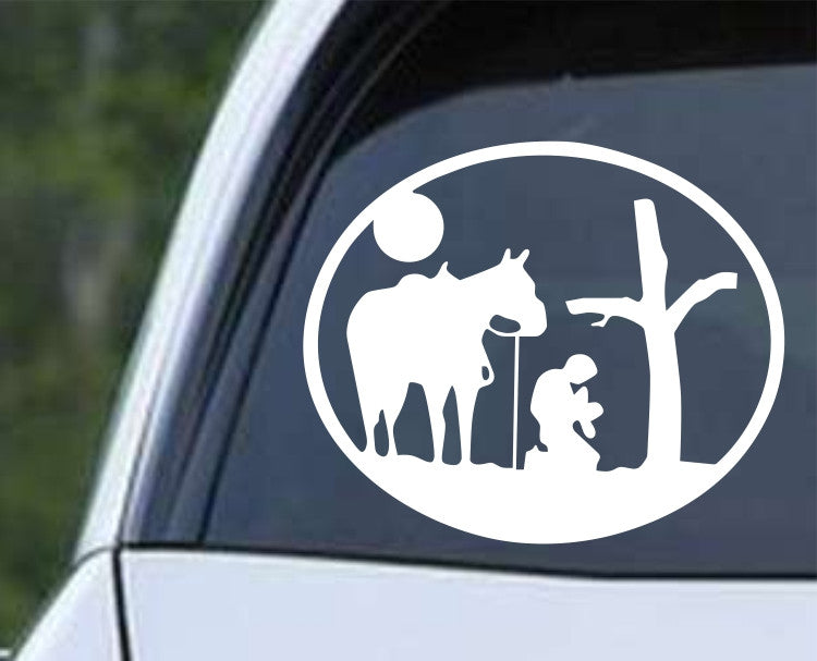 Cowboy Praying with Horse and Cross Round Christian Die Cut Vinyl Decal Sticker - Decals City