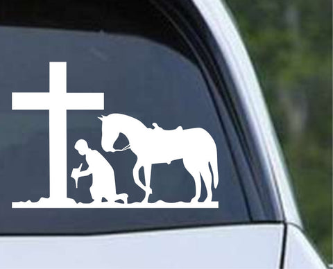 Cowboy Praying with Horse and Cross Christian Die Cut Vinyl Decal Sticker - Decals City