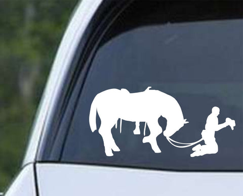 Cowboy Praying with Horse Christian Die Cut Vinyl Decal Sticker - Decals City