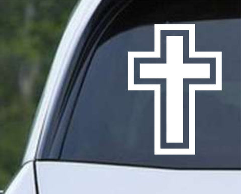 Cross Outline Christian Die Cut Vinyl Decal Sticker - Decals City
