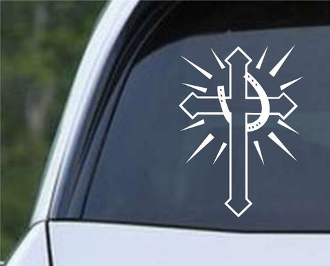 Cross with Horseshoe Die Cut Vinyl Decal Sticker