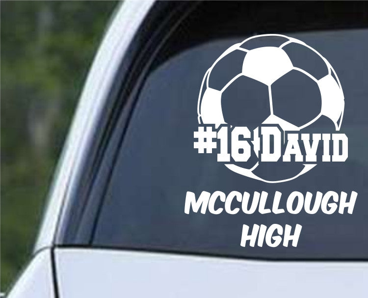 Custom Name Soccer Ball Die Cut Vinyl Decal Sticker - Decals City