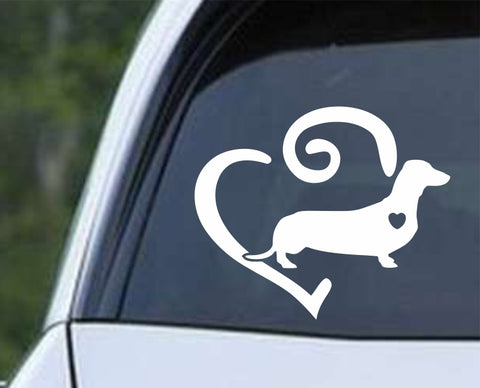 Dachshund Heart v2 Die Cut Vinyl Decal Sticker