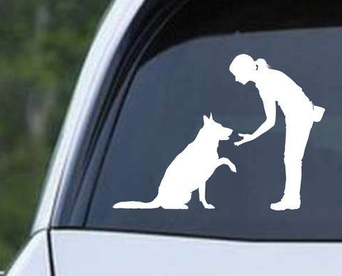 Dog Training Silhouette v5 Die Cut Vinyl Decal Sticker - Decals City