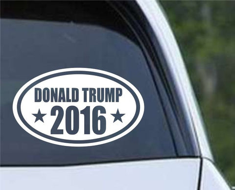 Donald Trump 2016 (ver 2) Euro Oval Die Cut Vinyl Decal Sticker - Decals City